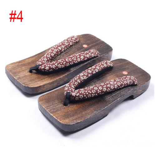 Chic Men Geta Square Toes Flip Flops Slippers Floral Floor Sandals Wooden Shoes