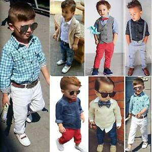 Toddler Baby Kids Boys Shirt Tops Pants Outfits Clothes Suit Formal Wedding Sets