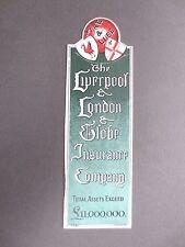 Vintage BOOKMARK Liverpool & London Globe Insurance Company Fire & Life