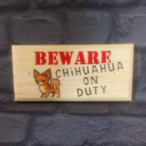 Chihuahua De Servicio signo, cuídate de la placa cierra la puerta de jardín de perros regalo de 335