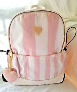 Betsey-Johnson-Striped-Backpack-Travel-School-Bag-Tote-Pink-Blush