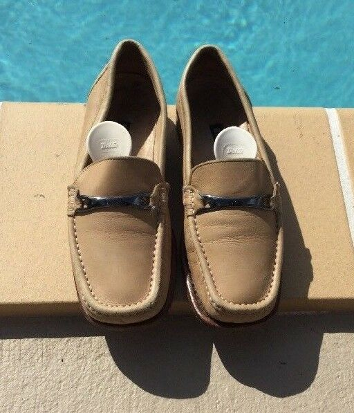 BALLY BEIGE BEIGE BEIGE LEATHER METAL DETAIL LOAFERS SHOES Sz 5M MADE IN ITALY 338d6c