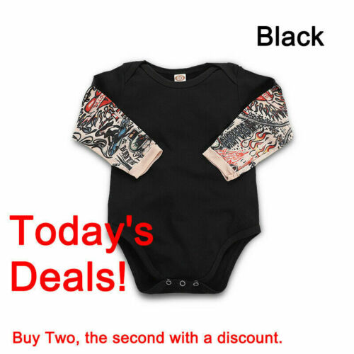 Infant Fake Tattoo Sleeve Cool Baby Boy Comfy Romper Cotton Newborn Jumpsuit