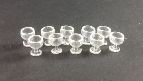 Plastic Dollhouse Miniature Home Restaurant 10pc Tiny 1cm Tall Cocktail Glasses