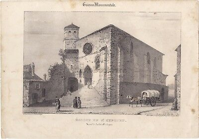 L'kirche Von Saint-cyprien Dordogne Frankreich Lithografie Originell Selected Material Art