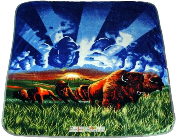 Loyaal 79x94 Queen Soft Faux Mink North American Plains Bison Buffalo Bull Herd Blanket