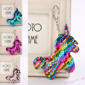 Keyrings Sequin Unicorn Keychain Bag Hanging Acces Key Ring Cute Fashion Gift