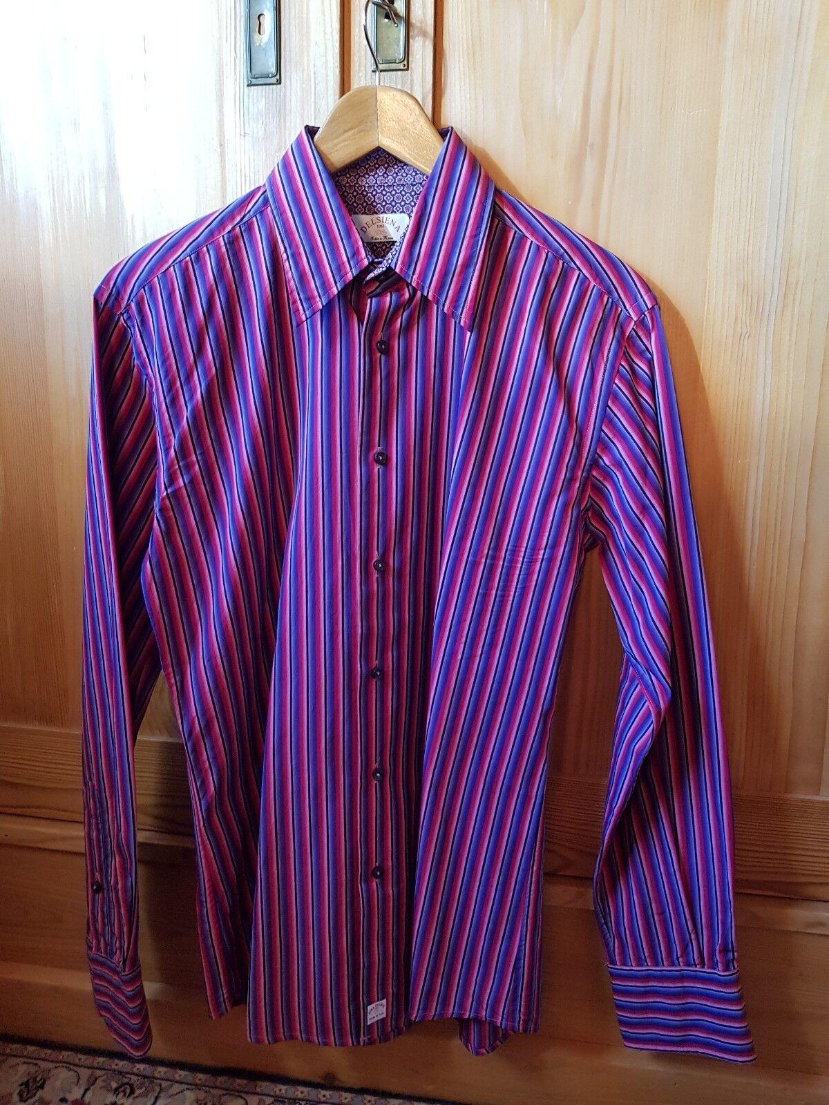 Del Siena Hemd shirt - size 39 (15 1 2) -  stripes pink bluee - slim fit