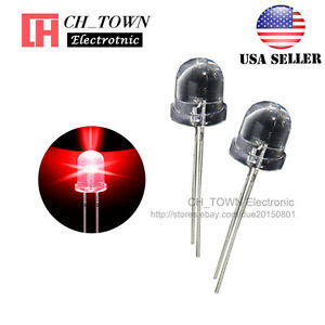 50pcs-10mm-LED-Water-Clear-Red-Light-Emitting-Diodes-Round-Top-Ultra-Bright-USA