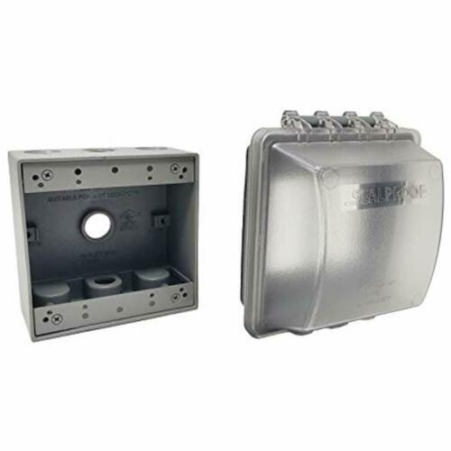 2-Gang Weatherproof Exterior In Use Outlet Cover And Box Kit Double Metallic UL