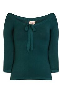 Green-Pretty-Illusion-Vintage-50-039-s-Retro-Plain-Rockabilly-Bow-Top-BANNED-Apparel