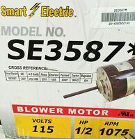 1/2 Hp Furnace Blower Motor 3587 -115v-1075 Rpm-reversible-9.1amp - Smart