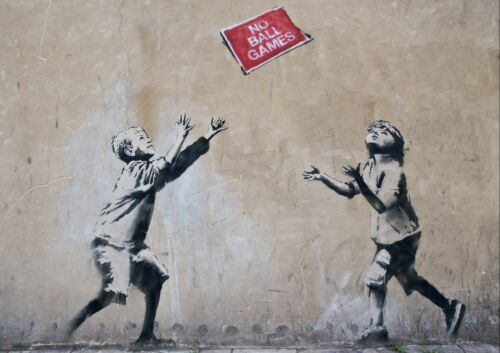 ALL SIZES BANKSY NO BALL GAMES GRAFFITI STREET WALL ART POSTER PRINT