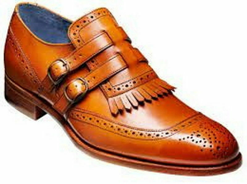 Mens Mens Mens Handmade Tan Formal schuhe Wing Tip Brogue Dress Leather Double Buckle schuhe e71c95