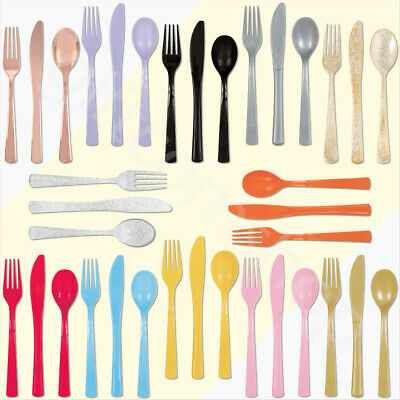 24 Assorted Plastic Cutlery Knives Forks Spoons Wedding Party Catering-FREE SHIP
