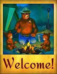 SMOKEY-BEAR-WELCOME-CAMPFIRE-SIGN-U-S-FOREST-SERVICE-CABIN-RUSTIC-VINTAGE