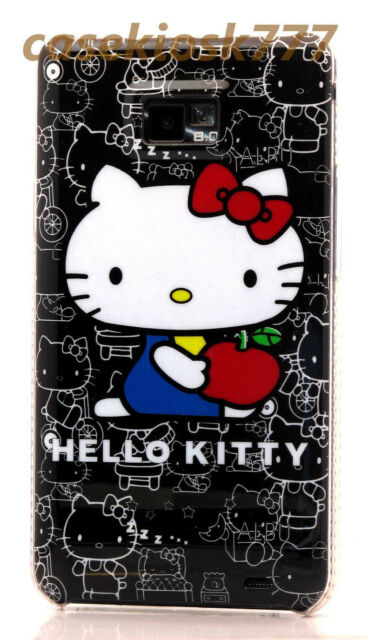 for Samsung galaxy s2 hello kitty  i9100 and i777  case black white red // i9100