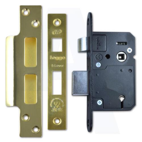 "2.5 /""laiton poli Legge b5642 BS 5 LEVIER mortice porte sashlock 64 mm"