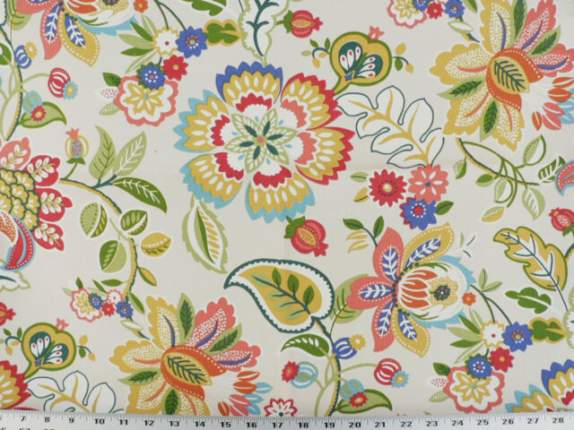Drapery Upholstery Fabric Indoor/Outdoor Jacobean Floral - Ivory Multi