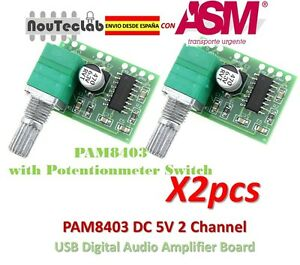 2pcs-PAM8403-5V-2-Channel-Digital-Audio-Amplifier-with-Potentionmeter-Switch
