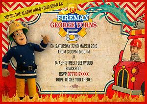 Personalised Birthday Invitations Fireman Sam fire enginefire man