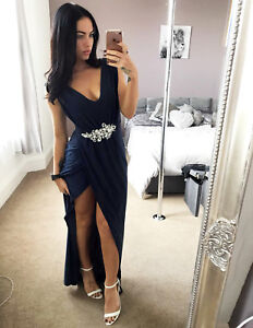 Missguided-Navy-Bridesmaid-Diamante-Maxi-Dress-Ladies-Evening-Womens-Uk-Sizes