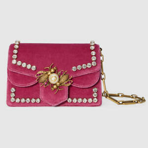 c9a9e2bafad Image is loading Gucci-Velvet-Broadway-Chain-Shoulder-Bag-Raspberry-New-
