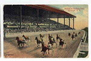 Horse-Racing-Racetrack-at-New-York-State-Fair-SYRACUSE-NY-Vintage-Postcard