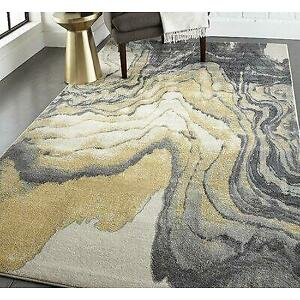 Wade Logan Ahaan Abstract White/Grey/Sunny Yellow Area Rug - 77% Off Canada Preview