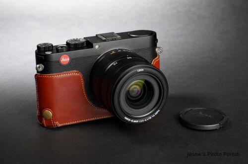 Original De Cuero Real de la mitad cámara bolsa caso cubrir para Leica X Typ 113 Vario Mini M
