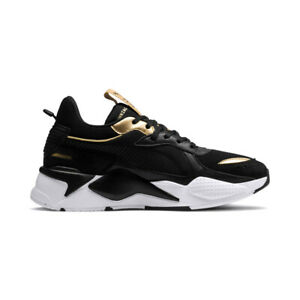 new puma rsx trophy black/gold sneakers chunky running