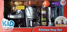 18pc Kids APPLIANCE Blender+Mixer+Coffee Maker Real Working Food Set Silver Lot