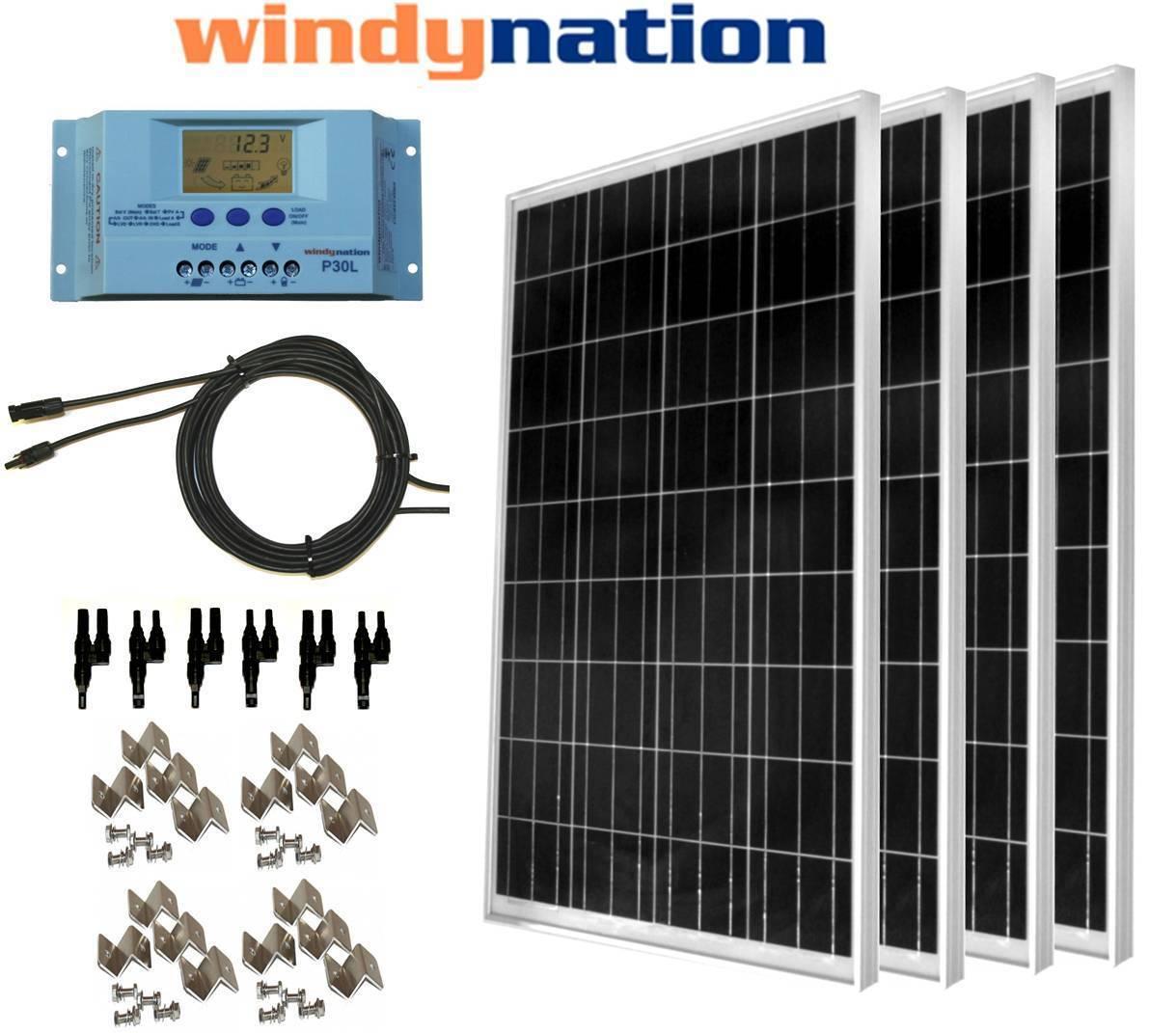 COMPLETE KIT  400 Watt 400W Poly Solar Panel 12V 24V Battery RV Boat Off-Grid
