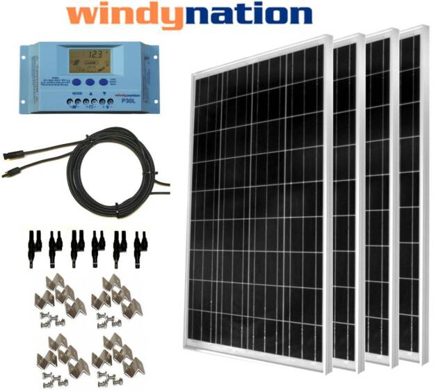 COMPLETE KIT: 400 Watt 400W Poly Solar Panel 12V 24V Battery RV Boat Off-Grid