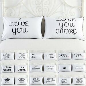 2PCS-White-Cotton-Home-Hotel-Decor-Standard-Pillow-Cases-Bed-Throw-Cushion-Cover