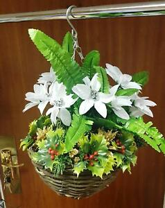Christmas Hanging Baskets.Details About Artificial Winter Christmas Hanging Basket Ready To Hang Flowers Ivy Leaf Fern