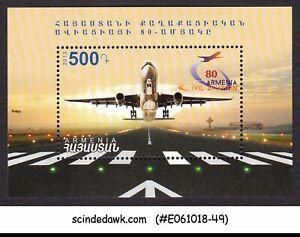 Min/sht Mnh 2013 80 Years Of Armenian Civil Aviation Armenia