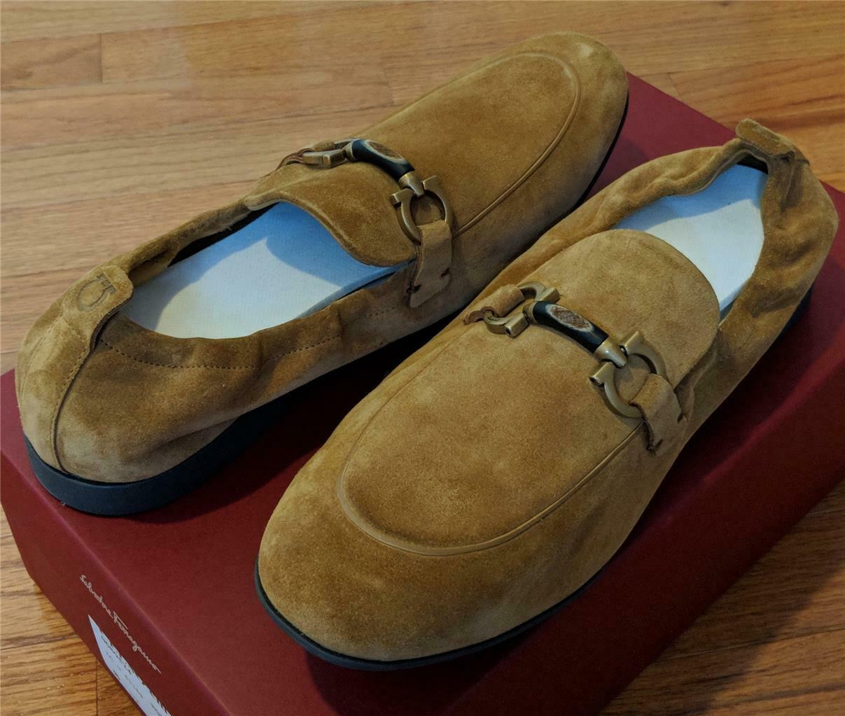 575 Mens Salvatore Ferragamo  Celso  Suede Apron Toe Loafers Honey US 9 E