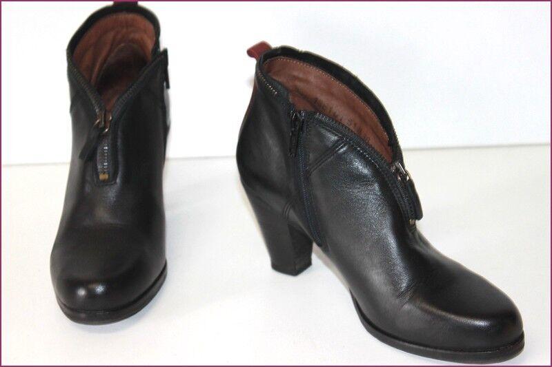 COQUE TERRA Boots Cuir Lisse Noir Doublées Cuir T 36 TBE