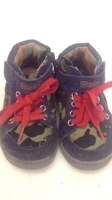 Blaike - Scarpe Da Bambino - Colore Militare E Blu - N° 20 Stringhe Rosse Usate Qualità E Quantità Assicurate