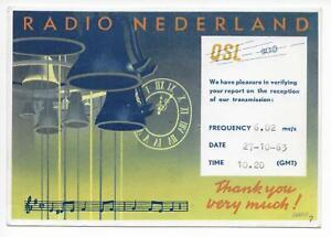 QSL Radio Nederland Hilversum Holanda 1963 en 6020 estación Kcs # campanas  feliz DX   eBay
