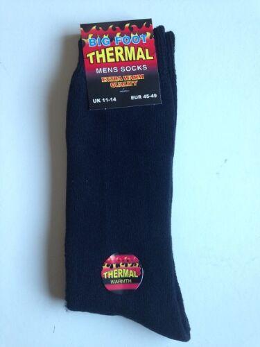 MENS BIG FOOT  EXTRA THICK THERMAL WARM BOOT SOCKS BLACK  UK  11-14