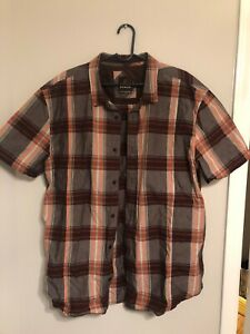 PRANA-Mens-Short-Sleeve-Brown-Orange-Plaid-Button-Front-Shirt-sz-XL-XLarge-EUC