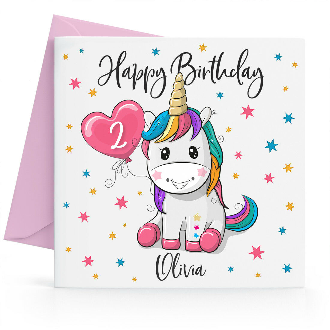 Details About Personalised Girls Unicorn Birthday Card