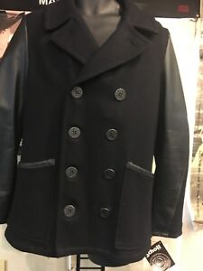fa135336b6e0 SCHOTT NYC Men s Black Wool Jacket With Black Leather Sleeves DU799 ...
