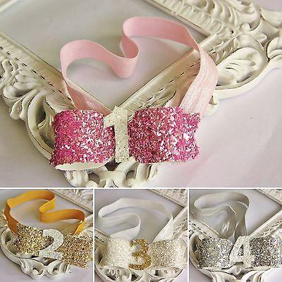 Glitter Baby Girls Bow Headband Hairband Birthday Cake Smash Photo Number Party