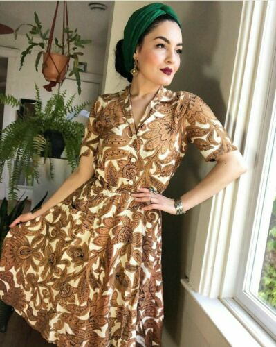 Vintage 1940s Rayon Copper Brown Filigree Romper … - image 1