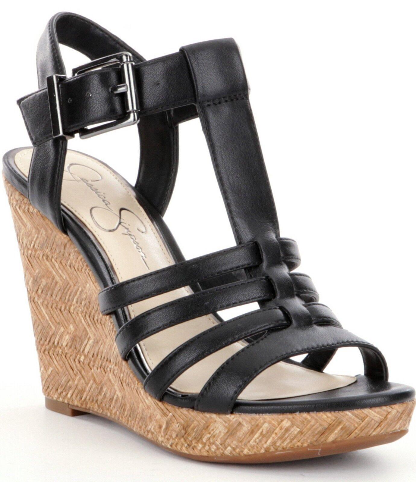 Jessica Simpson Jenaa Platform Wedge Sandals, Sizes 6-10 Black Black Black Sleek JS-JENNA 29c575
