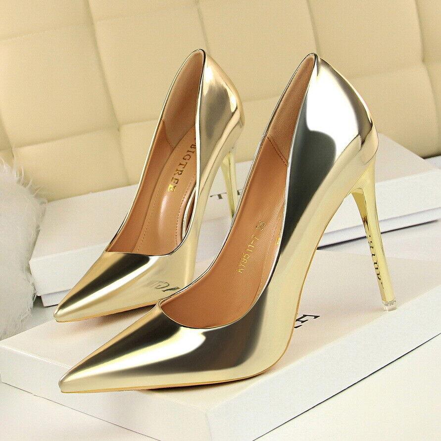 Stilett Pumps Damenschuh 10.5 cm Gold Gold Leder Kunststoff Elegant 9945