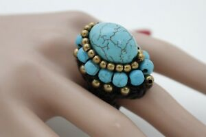 Women-Bohemian-Style-Ring-Fashion-Size-8-Band-Brown-Band-Turquoise-Blue-Beads